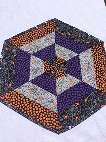 Halloween Spider Web Mat Quilted Centerpiece Table Topper Runner Homemade Quilt Quilted in Orange and -