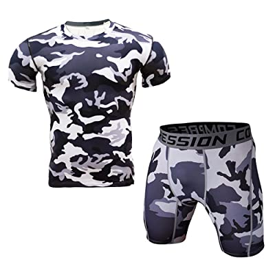1Bests Men's Sports Fitness Camouflage Tight T-Shirt Set Short Sleeve T-Shirt + Shorts