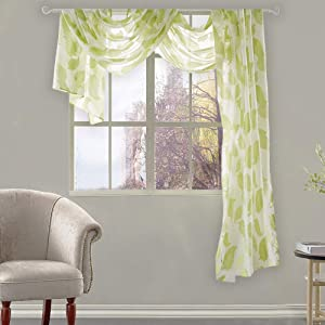 KEQIAOSUOCAI Sheer Voile Window Scarf Valance Gorgeous Leaves Jacquard Curtain Scarf 52 inches Wide by 144 inches Long 1 Piece Scarf Light Green
