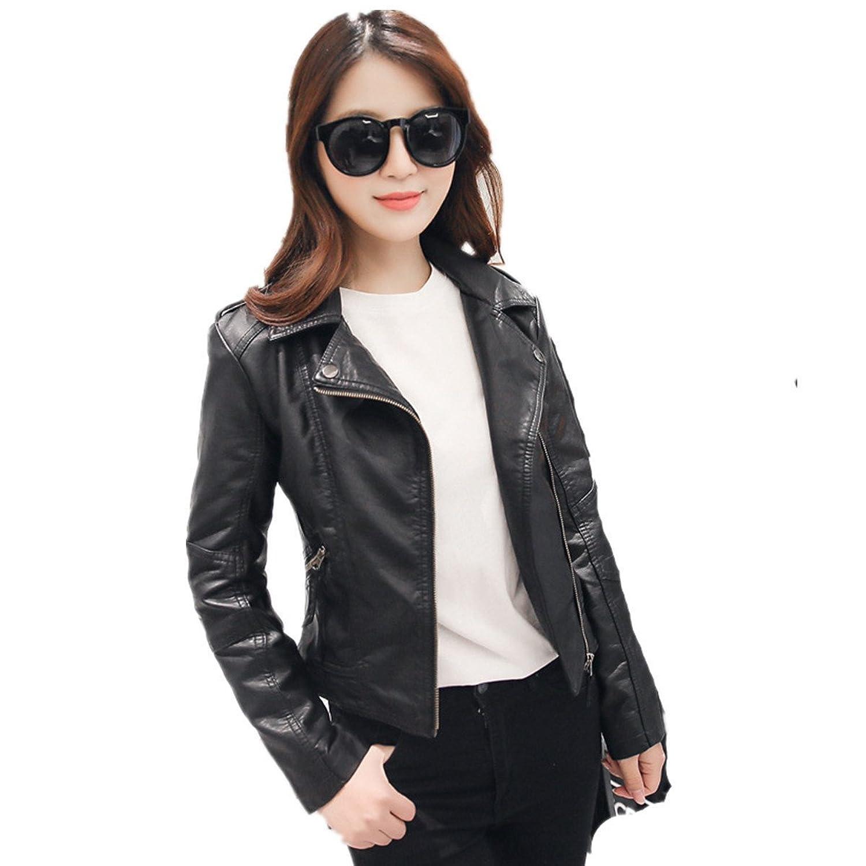 LOBTY Frauen Motorrad PU aus weichem Leder Reissverschluss lederjacke Bikerjacke Jacke Blazer Outwear Trenchcoat