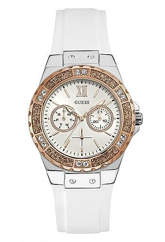 Guess Reloj Multiesfera para Mujer de Cuarzo con Correa en Caucho W1053L2: Amazon.es: Relojes