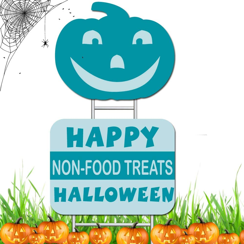 Double Side Printing Halloween Decorations Outdoor-Teal Pumpkin Yard Sign 2 Pieces Happy Halloween Non-Food Treats and Smiling Pumpkin Yard Sign, Plastic and Metal Stake