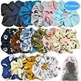 EAONE 16 Pieces Chiffon Hair Scrunchies Flower Hair Scrunchies Ties Hair Bobbles Ponytail Holder with Pouch Bag for Women Girls, 16 Colors