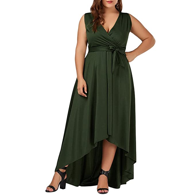 GAMISS Mujer Vintage Vestido de Fiesta Noche Sin Mangas Talls Grandes Verde 2XL