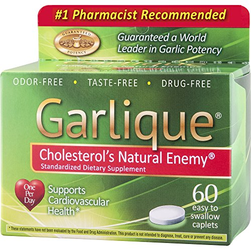 Garlique, Dietary Supplement Caplets, 60 Count, Garlic Herbal Supplements, Supports Cardiovascular Health and Healthy Cholesterol Levels, Odor-Free, Tasteless, Drug Free ()