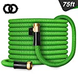 Besiter Expandable Garden Hose, 75FT Lightweight and Kink Free Flexible Water Hose with 3/4' Heavy Duty Brass Connectors & Shut Off Valve Green