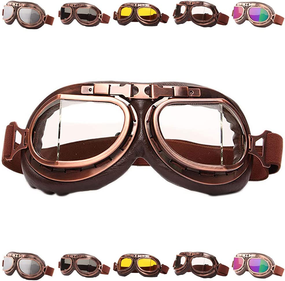 Peicees Vintage Helmet Goggles Motrocycle Scooter Cycle Mountain Bike Motorcross Cycling Goggles Retro Aviator Pilot Goggles Off-Road Glasses Eyewear