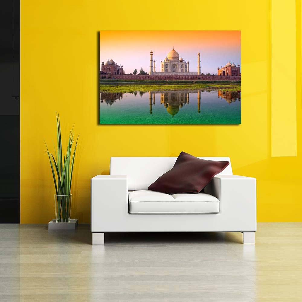 PB Taj Mahal With Tricolor Unframed Canvas Painting 24.2 x 16inch ...