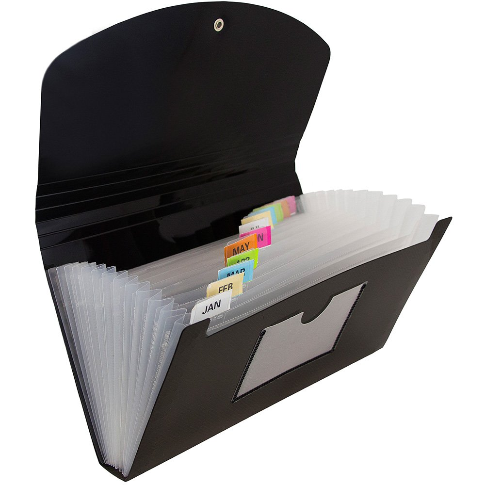 JAM Paper 13 Pocket Expanding File with Button & String Closure - Check Size - 5'' x 10 1/2''- Black - 24/pack