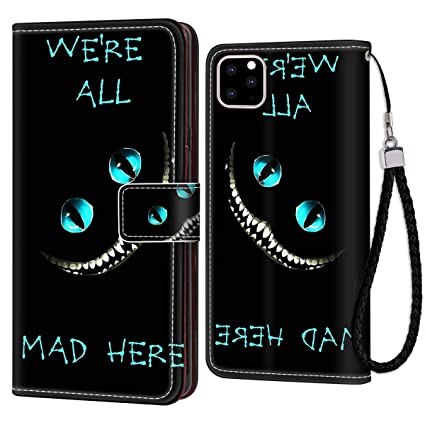 Wallet Case Compatible With Apple Iphone 11 61inch Alice In Wonderland Cheshire Cat Crazy Wallpaper All Mad Here For Women