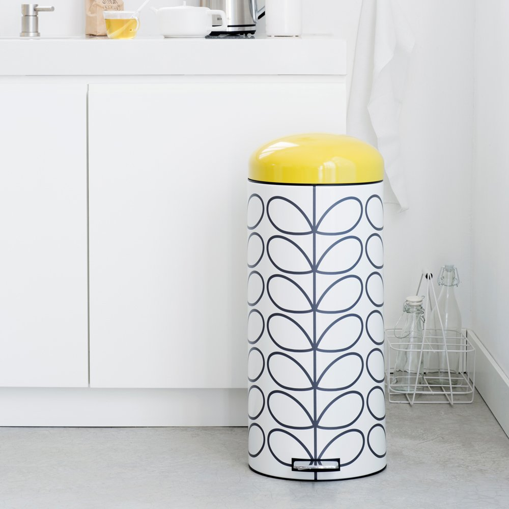 Brabantia Retro Pedal Bin By Orla Kiely, 30 L   Cream Linear Stem:  Amazon.co.uk: Kitchen U0026 Home