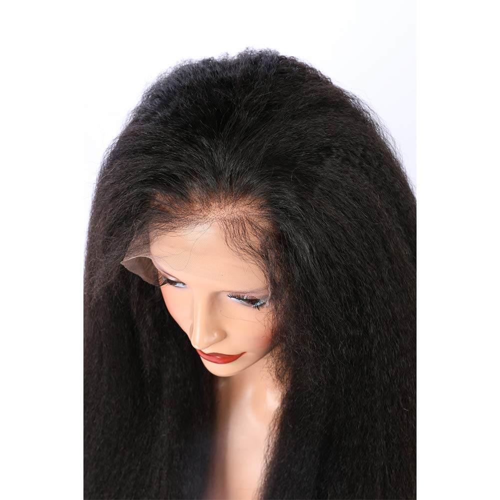 ALYSSA Free Part Human Hair Wig With Baby Hairs Unprocessed Kinky Straight 150% Density Full Lace Wigs For Woman 24inch Natural Color by Alyssa (Image #4)
