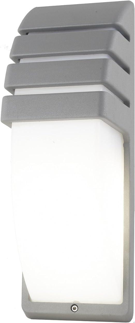 Plafón aplique lámpara LED E27 10 W a pared de aluminio exterior IP65 RGBW – Luz Blanco Frío acabado aluminio gris: Amazon.es: Iluminación
