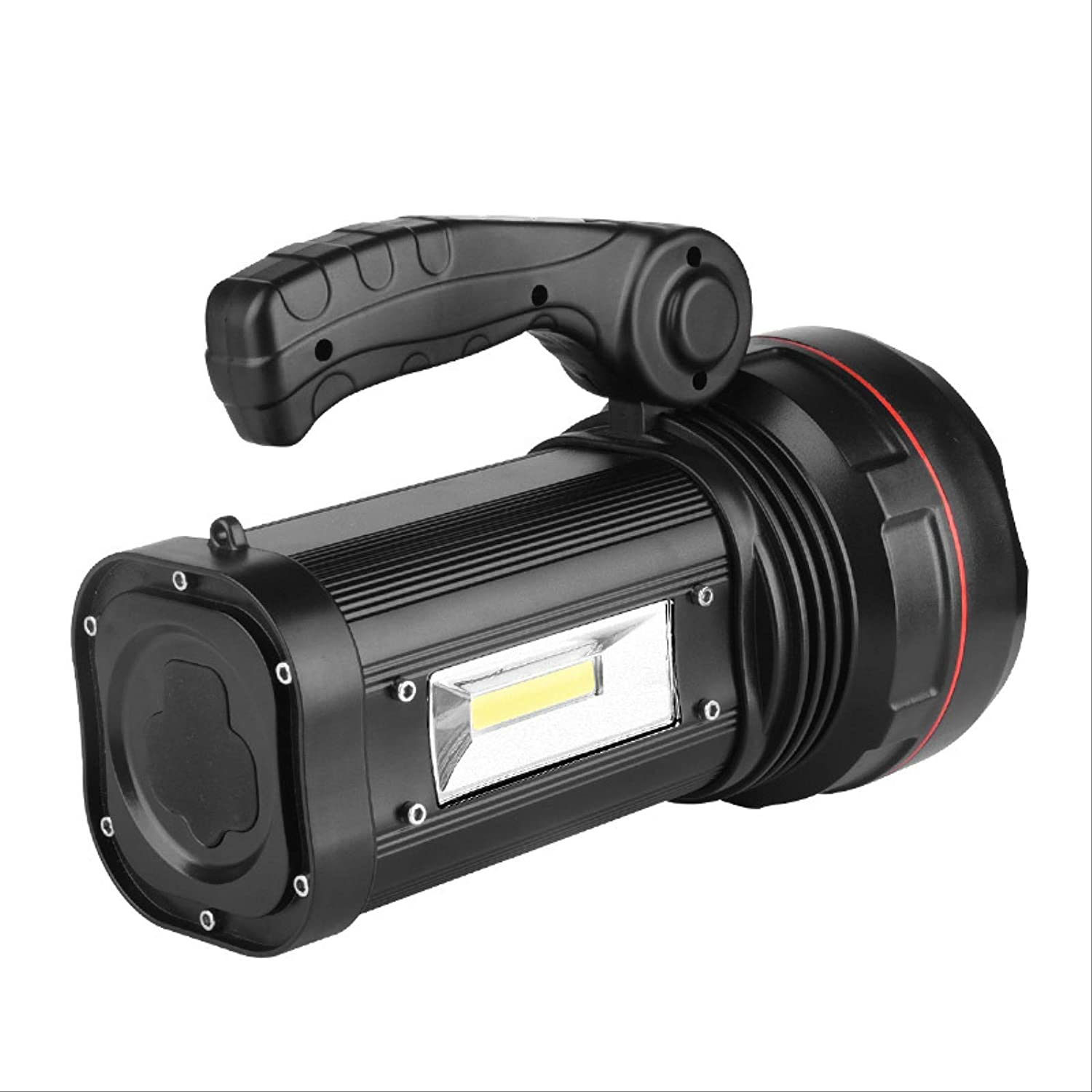 High-Power Portable Lamp Searchlight Led Charging Emergency Mobile Power Supply Black Single Side Light Battery Black Single Side Lamp 4 Sections 18650