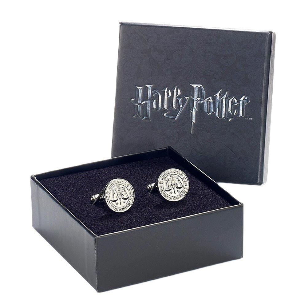 Offizielle Warner Bros Harry Potter Ministry of Magic Logo silber vergoldete Manschettenknöpfe 1538