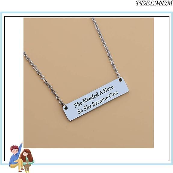 FEELMEM Feminist Necklace She Needed A Hero So She Became One Pendant Bar Necklace Feminism Feminist Jewelry Inspirational Gift for Women Girl