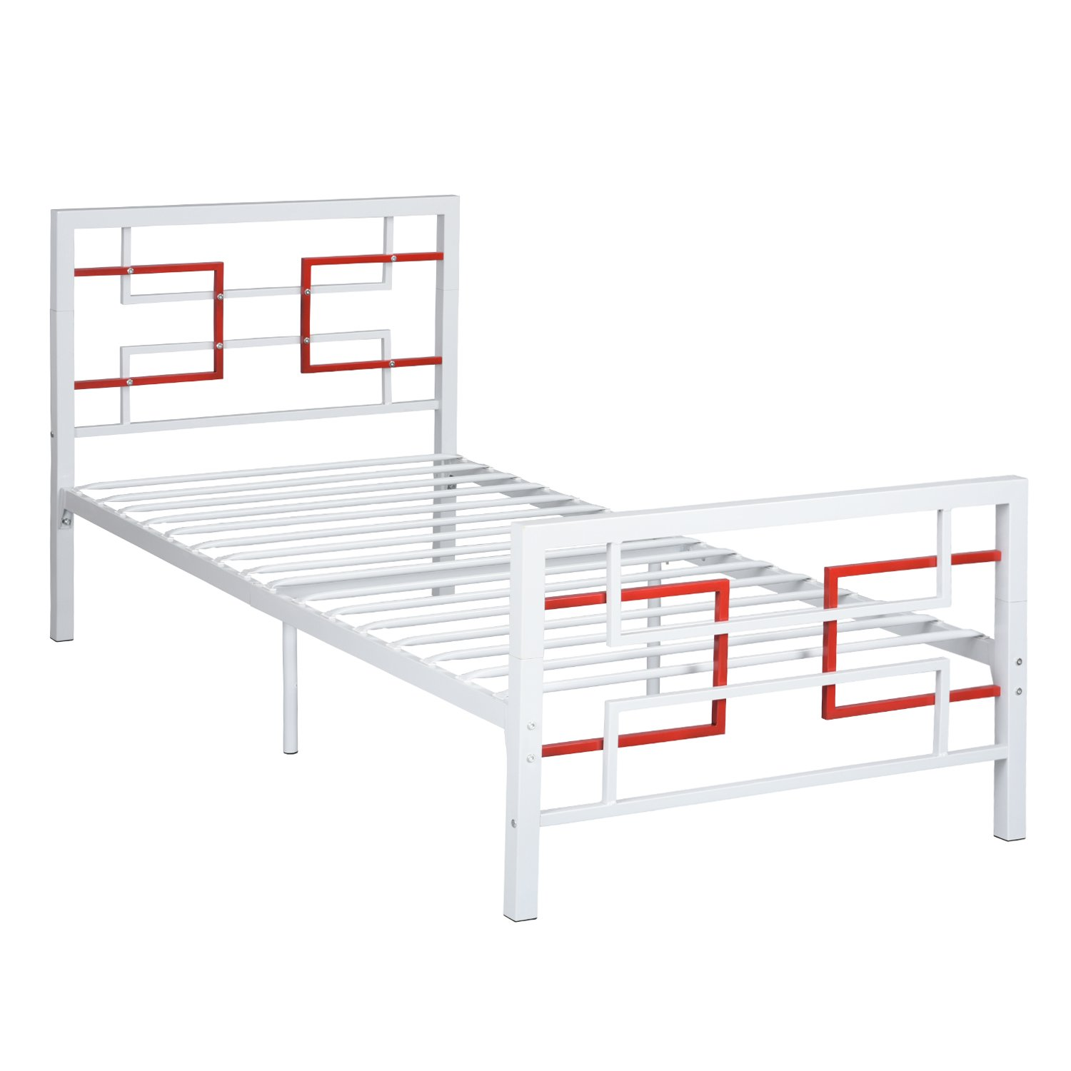Aingoo Single Metal Bed Frame 3ft Single Beds with Solid Square Tubes for Adults and Children, 90x190 (cm), White