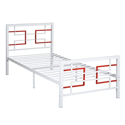 Amazon.com: Green Forest Bed Frame Twin Size White, Metal Platform ...