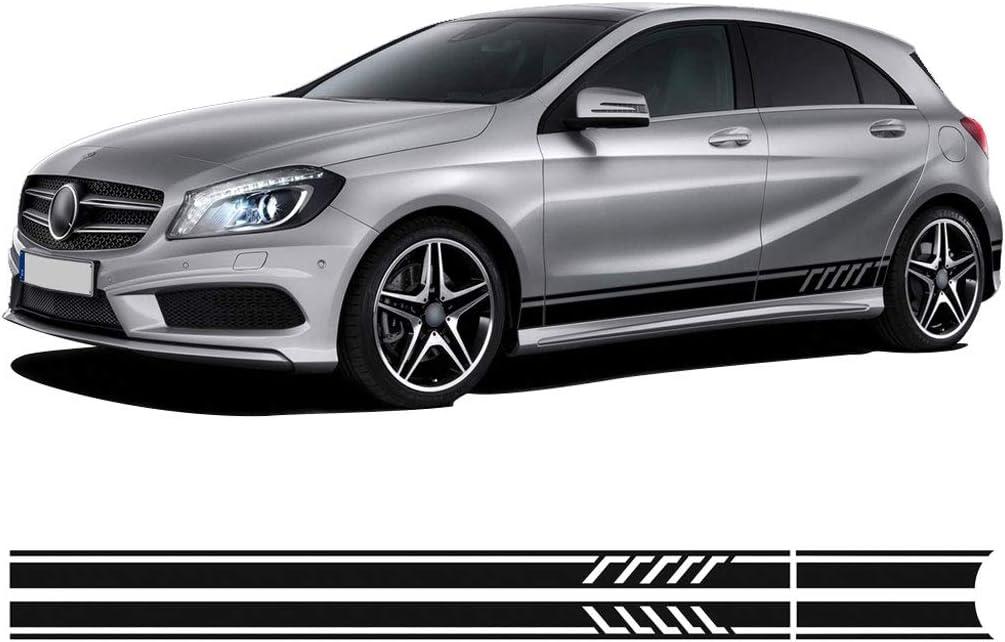 TYMDL 2 St/ück Autoseitenrock Vinyl Long Stripe Aufkleber Decals f/ür Mercedes Benz A Class W176 W177 A45 A180 A200 A220 A250 X117 AMG All Models Auto Side Body Door Abziehbild Styling Zubeh/ör