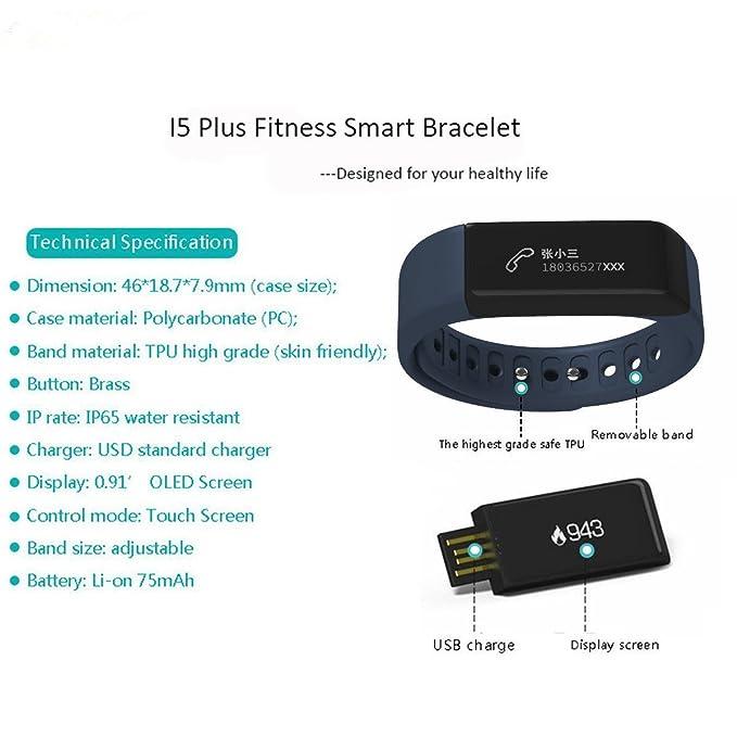 Yuntab SmartBand I5 plus - Pulsera inteligente Deporte pulsera de la pulsera/Perseguidor de la aptitud/SmartWatch con pantalla táctil OLED y Bluetooth ...