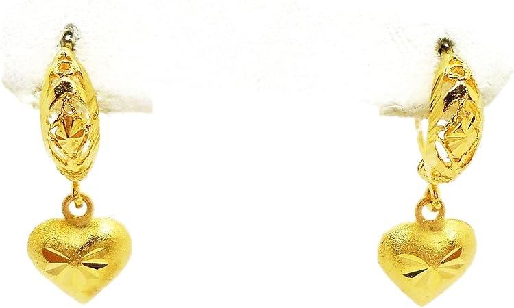 Lai Thai Heart Dangle 22K 23K 24K Thai Baht Yellow Gold Plated Earrings Jewelry