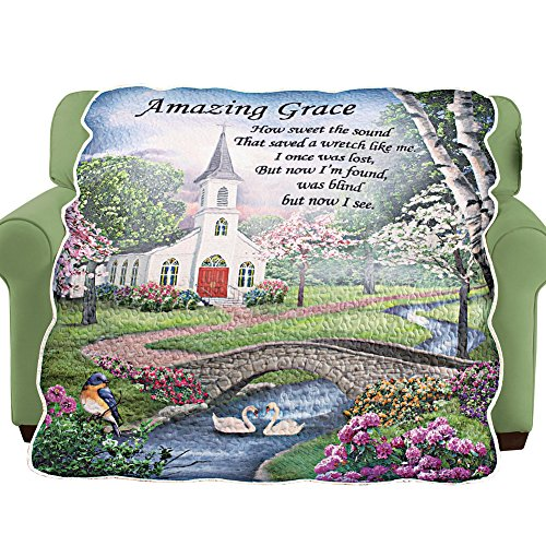 Collections Etc Amazing Grace Religious Home Decor Quilted Throw Blanket ()