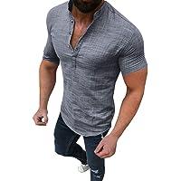 Kortärmad skjorta för män ledig blus bomull linne T-shirt slim fit toppar teskjortor tröjor
