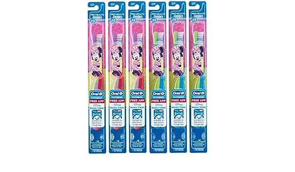 Oral B Cepillo De Dientes Para Niños, Pro-Health Stages Mickey & Minnie Mouse Para Niños Pequeños 2-4 Años, Extra Suave (Paquete de 6) - Personajes Varían: ...