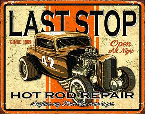 (Desperate Enterprises Last Stop Hot Rod Repair Tin Sign, 16