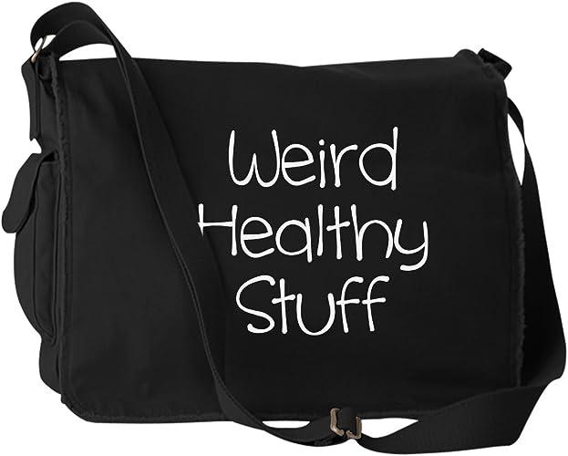 Funny Weird Healthy Stuff Groceries Snacks Black Canvas Messenger Bag