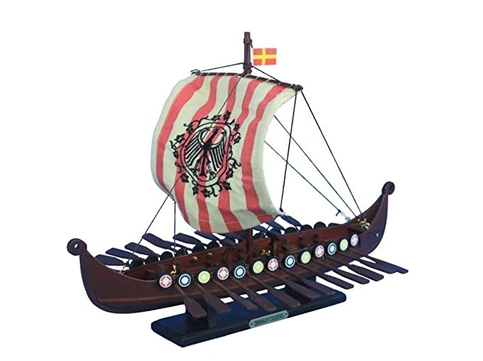 Hampton Nautical Wooden Viking Drakkar With Embroidered Raven Limited Model Boat 14