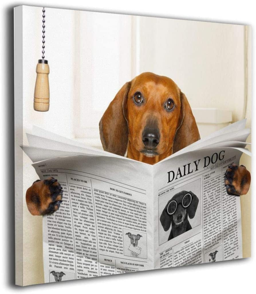 """Kingsleyton Sausage Dachshund Dog Reading Newspaper Modern Home Decor Wall Art Painting Wood Inside Framed Hanging Wall Decoration Abstract Painting Ready to Hang 12""""x12"""""""