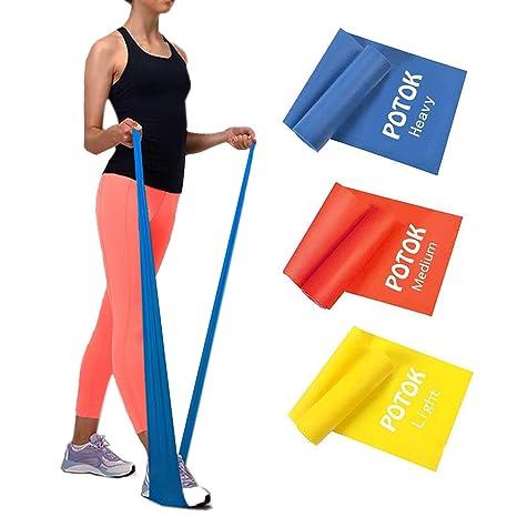 Potok - Juego de 3 bandas elásticas de diferentes dificultades para fitness, yoga, pilates, musculación, etc.