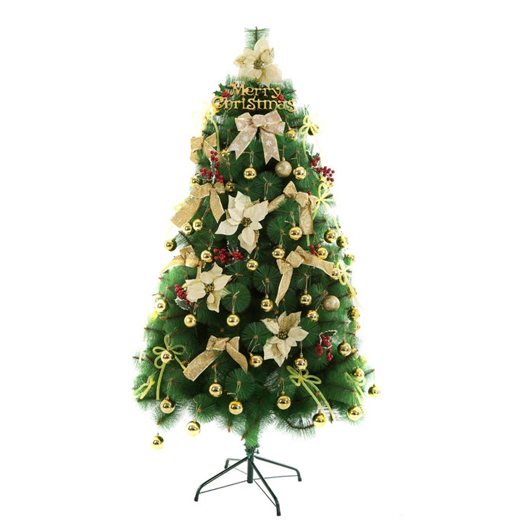 XF Christmas tree-210cm Artificial Christmas Tree All Occasions Green Color Pine Needle Tree with Metal Bracket 6.88ft // (Color : Gold)