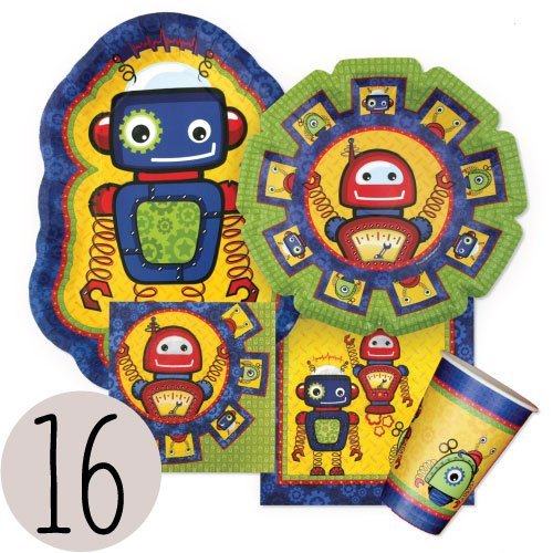 Robot Party Supplies (Robots - Party Tableware Plates, Cups, Napkins - Bundle for 16)