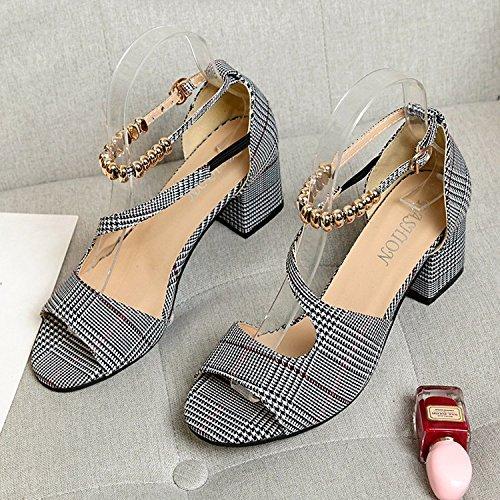 GAOLIM La Terraza De Verano Y Sandalias De Metal Ranurado Biselado Corbata Con Bold Zapatos Zapatos Femeninos Textura De Tela Gris