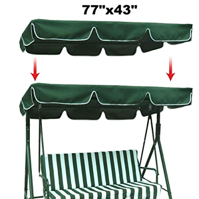 "DN_HOM Awesome and Durable Swing Top Cover Canopy 300D Replacement Garden Patio Outdoor 77""x43"" (Green) : Garden & Outdoor"