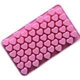Longzang Silicone Mold Mini Heart Shape Silicone Ice Cube/Chocolate Mold Pink