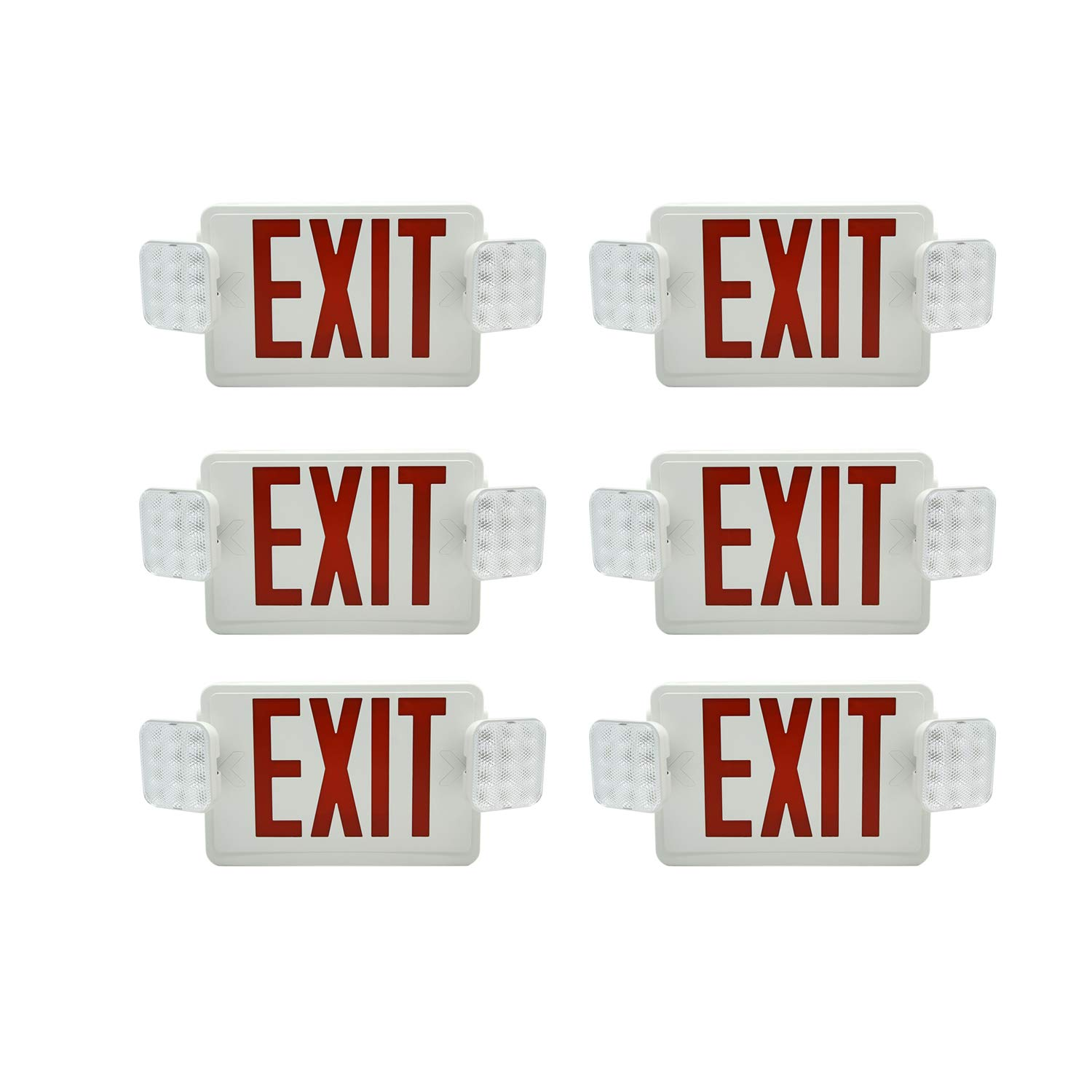 HYD-PARTS 6 Packs Emergency EXIT Sign LED Light Fixture Two Heads Fire Safety Lights Plus Back Up Battery Pack, Commercial, Fire Resistant, US Standard Red Letter - UL Listed (Red)