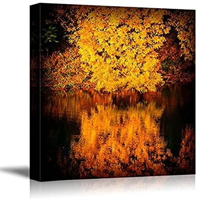 Canvas Prints Wall Art - Autumn Trees Covered with Yellow Foliage Reflected in The Water Nature Beauty | Modern Wall Art Stretched Gallery Canvas Wrap Giclee Print & Ready to Hang - 24