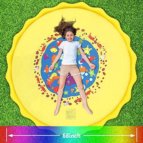 FUDOSAN Splash Pad for Kids, 68 inch Sprinkler Mat Outside Inflatable Water Play Toys, Backyard Wading Pool for Fun Games Learning Party for Toddlers, Teens, Adults and Pets Activities