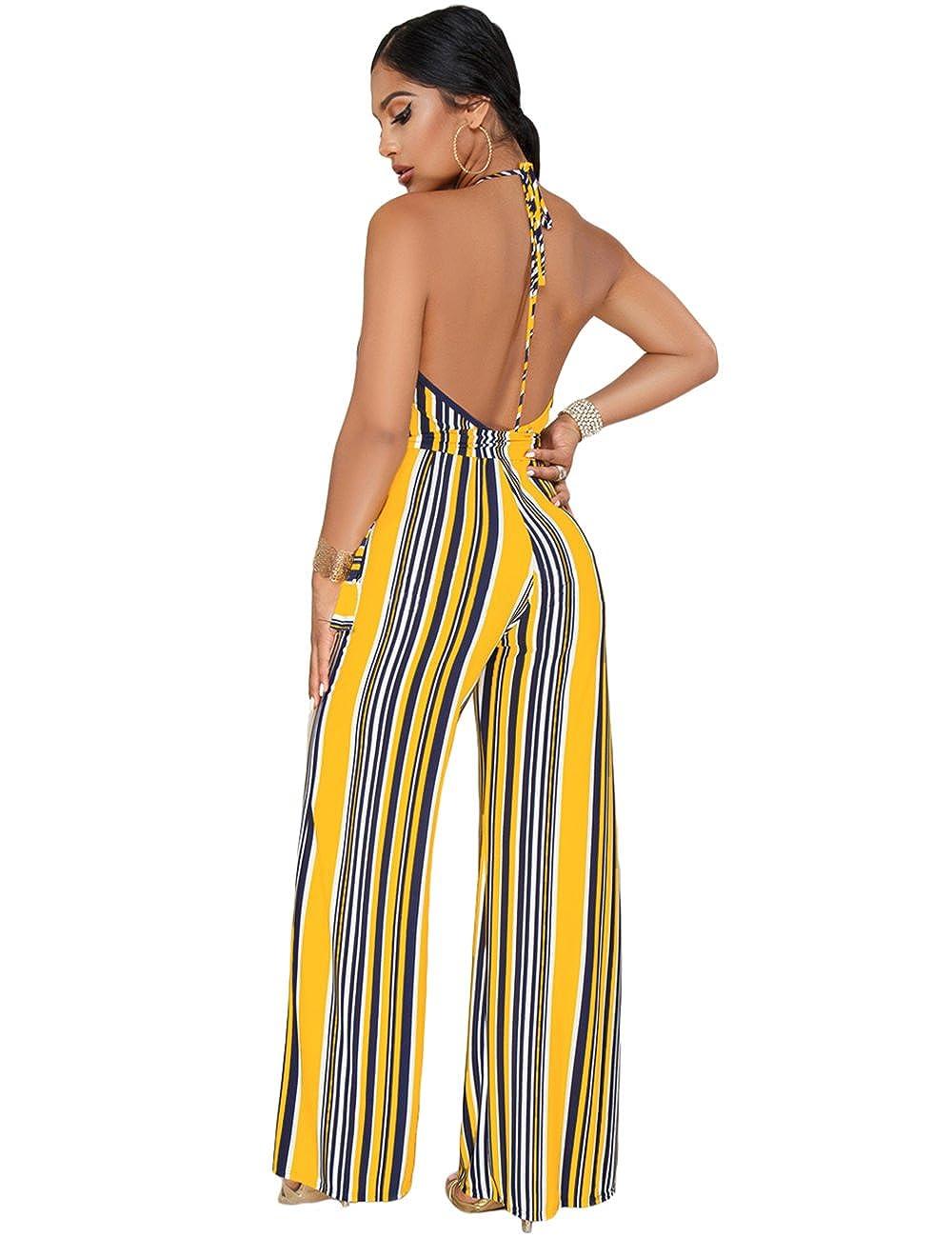 d2f6627102f Amazon.com  Women Striped Halter Deep V Neck Jumpsuit Romper Wide Leg  Backless Playsuit  Clothing