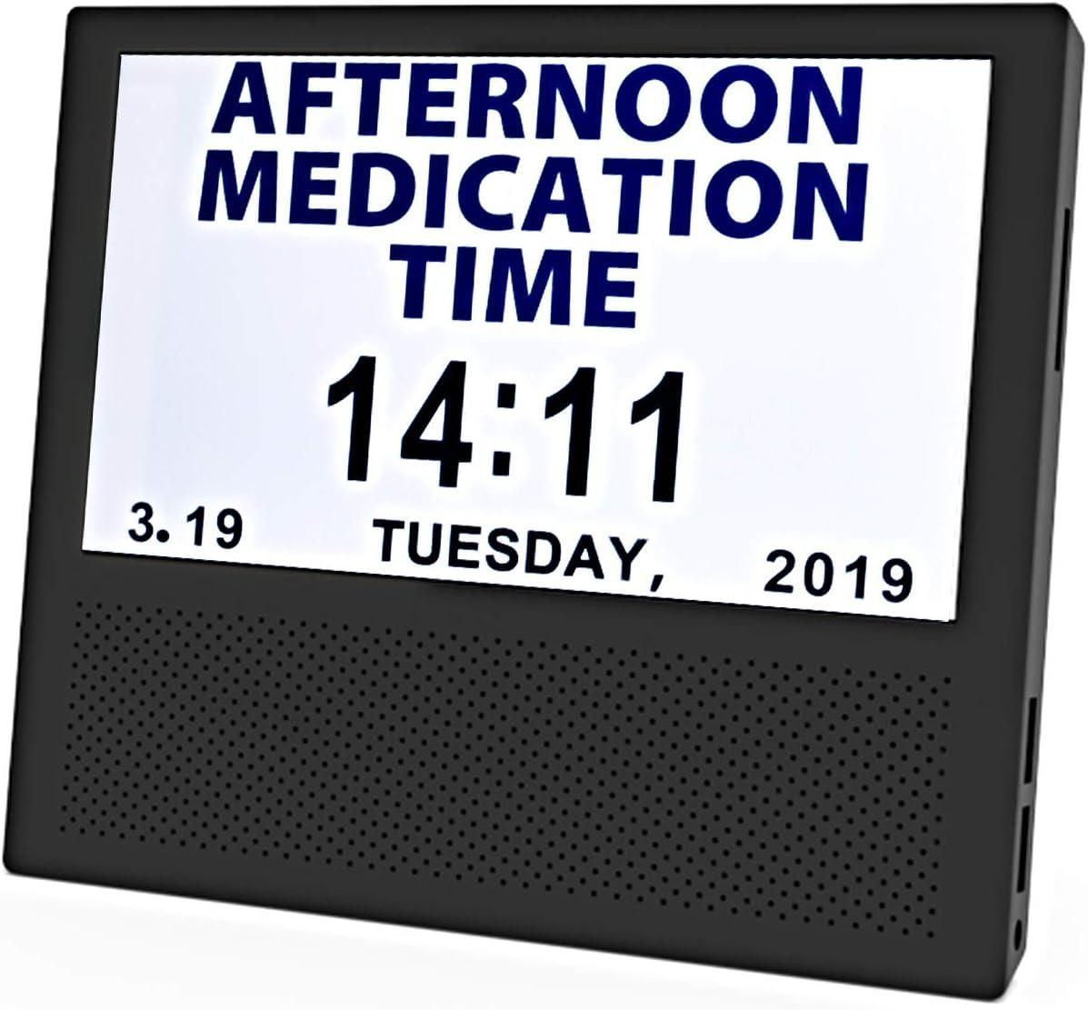SANTEK SAC0700 Digital Medicine Clock and Photo Frame Medication Reminders with 8 Alarm Options Calendar 7inch 1024×600 IPS Clear Display Large Letters – Black