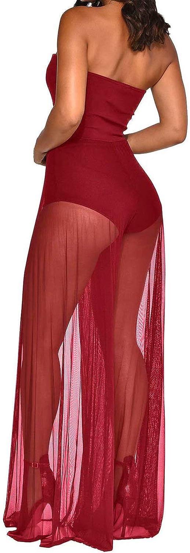 Zabmauek Womens Romper Off Shoulder Mesh Sheer Patchwork Long Pants Suits Jumpsuits