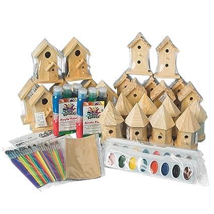 Amazon Com New Decorative Wooden Birdhouse Craft Bulk Kit For Kids