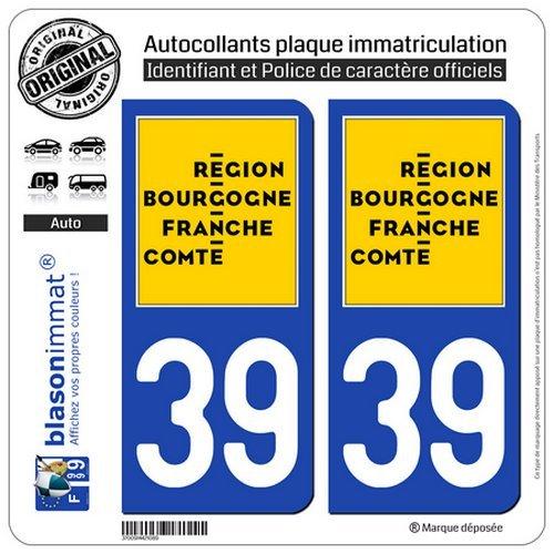 blasonimmat 2 Autocollants Plaque immatriculation Auto 39 Bourgogne-Franche-Comté - Logotype