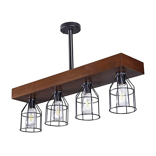 Wellmet Wood Farmhouse Kitchen Island Lighting With Metal Cages Rustic Light Fixtures For Dinning Room 4 Lights Chandelier Hanging Light For Living