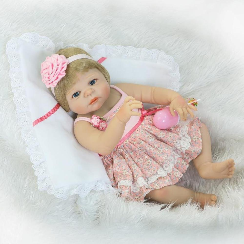 "QXmEi Real Life Like 22 ""/57 cm Reborn Baby Doll Collectible新生児赤ちゃん人形フルシリコンボディwith Magnet Pacifier   B07DN58K1S"