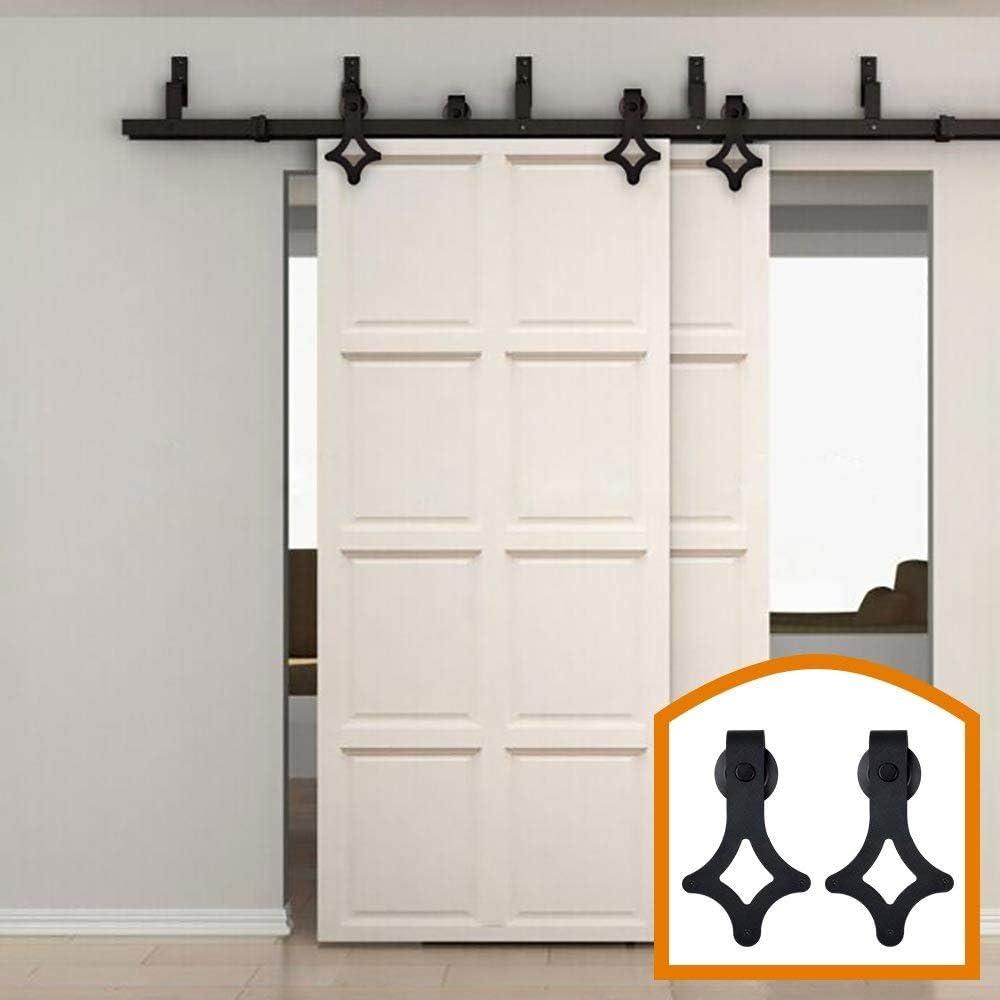 Bypass - Sistema de suspensión de puerta corredera de doble puerta, diseño clásico con forma de diamante, ideal para puertas de armario, interiores y exteriores: Amazon.es: Bricolaje y herramientas
