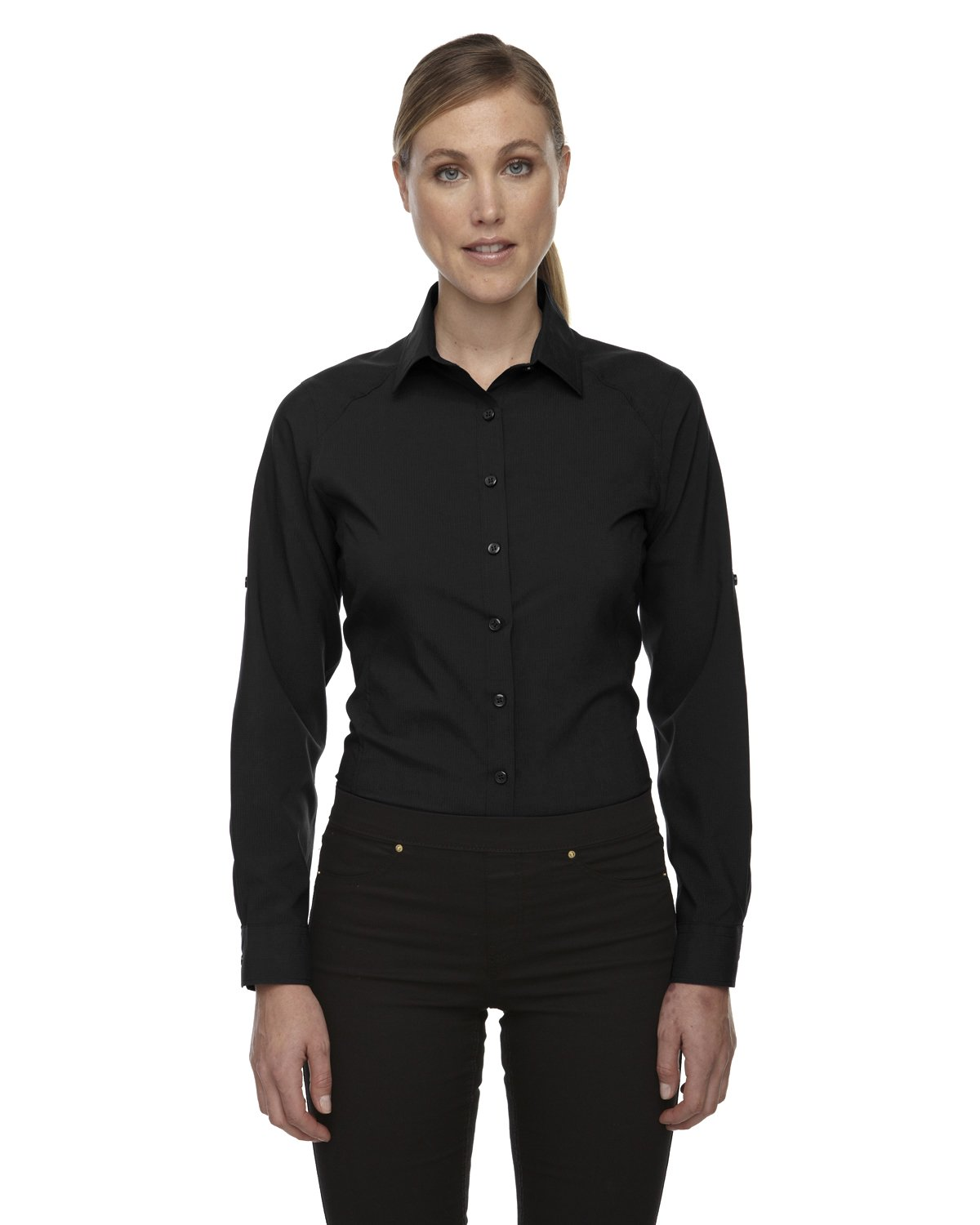 Ash City Apparel North End Sport Rejuvenate Ladies Performance Shirts with Roll-Up Sleeves (Small, Black)